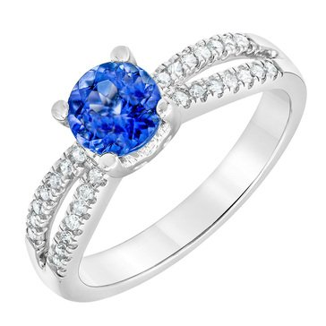 14K White Gold 1 1/5 tgw Tanzanite and Diamond Ring