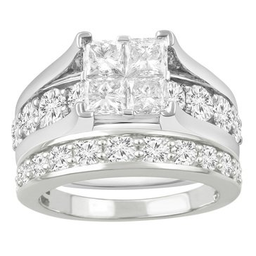 14K White Gold Diamond Bridal Set 4.00 cttw