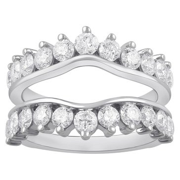 14K White Gold Ladies Guard Ring 2 cttw