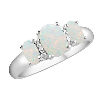 Sterling Silver Created Opal 3 Stone Ring