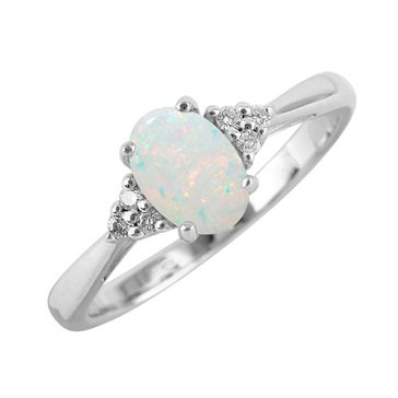 Sterling Silver Created Opal Oval Ring