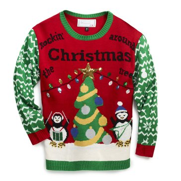 Derek Heart Juniors' Penquin Rockin Around Holiday Sweater