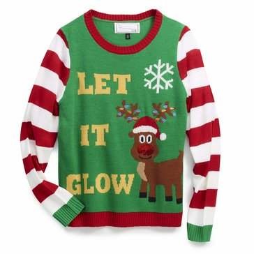 Derek Heart Juniors' Let It Glow Reindeer Holiday Sweater