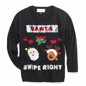 Derek Heart Juniors' Flippy Sequin Holiday Sweater