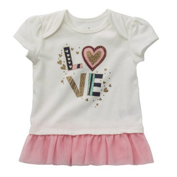 Wanderling Baby Girl Short Sleeve Lap Shoulder Peplum Tee
