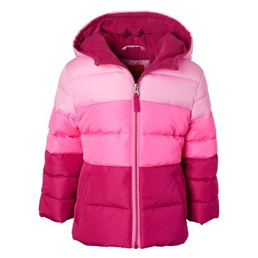 Pink Platinum Baby Girl Hooded Colorblock Puffer Jacket