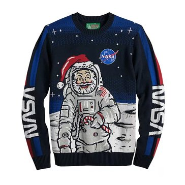 Michael Gerald Men's NASA Santa with Stripe Sleeve Ugly Christmas Sweater