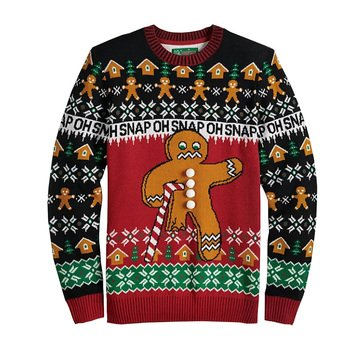 Michael Gerald Men's Oh Snap Gingerbread Ugly Christmas Sweater