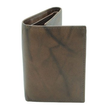 Stone Mountain Men's Marble Leather RFID Trifold Wallet Zip Compartment