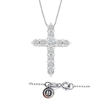 Because By Navy Star 14K White 1/4 Cttw Cross Pendant