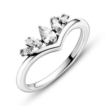 Pandora Sparkling Pear and Marquise Wishbone Ring