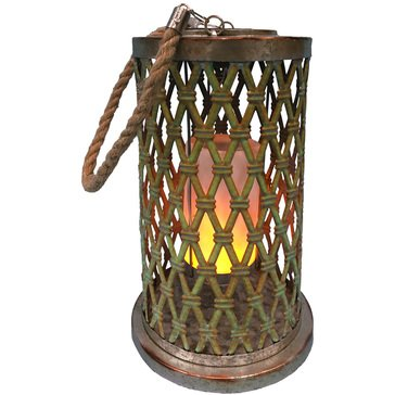 Alpine Solar Brown Diamond Weave Metal Lantern With LED Light