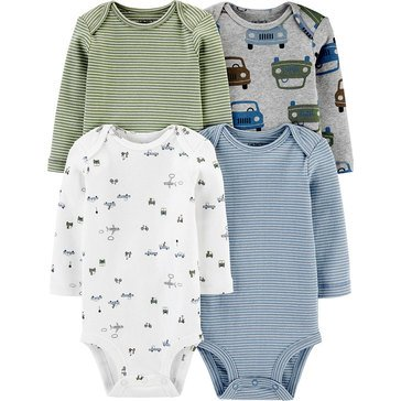 Carters Little Baby Basics Boy Long Sleeve 4 Pack Bodysuit