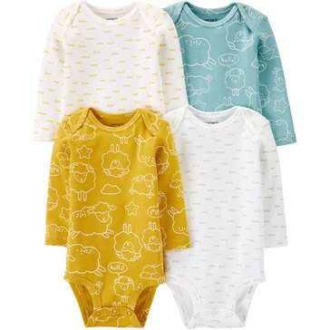 Carters Little Baby Basics Neutral Long Sleeve 4 Pack Bodysuit