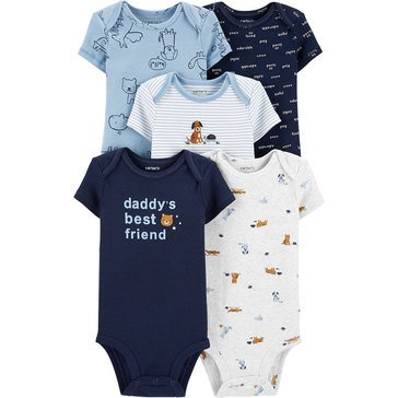 Carters Little Baby Basics Boy Short Sleeve Solid 5 Pack Bodysuit