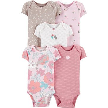 Carters Little Baby Basics Girl 5 Pack Bodysuit Giftable