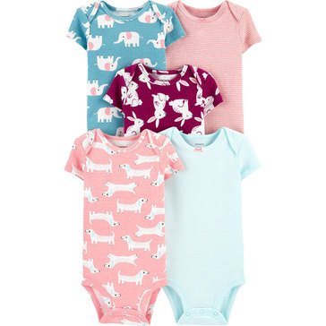 Carters Little Baby Basics Girl Short Sleeve 5 Pack Bodysuit