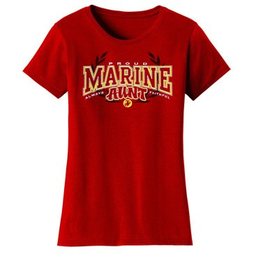 Frontline Military Apparel Women's USMC Proud Aunt Always Faithful EGA Tee