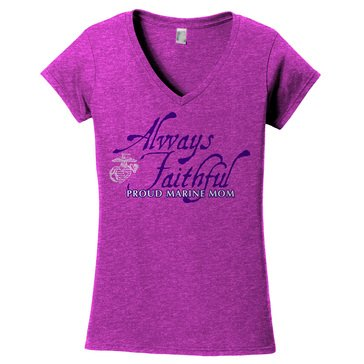 Frontline Military Apparel Women's USMC Proud Mom Always Faithful EGA Tee