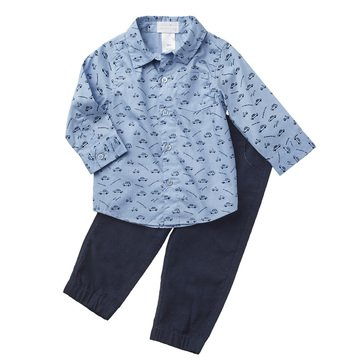 Wanderling Baby Boy Long Sleeve Woven Shirt/Corduroy Jogger Pant