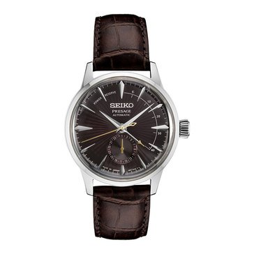 Seiko Men's Presage Automatic See-through Caseback Leather Strap Watch