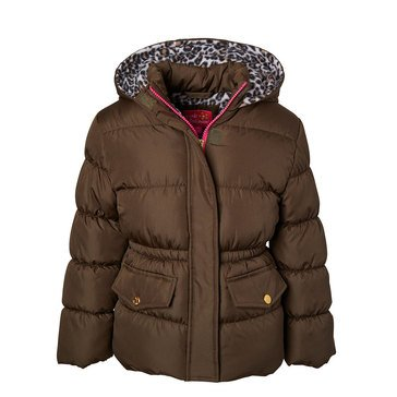 Pink Platinum Little Girls' Leopard Liner Puffer