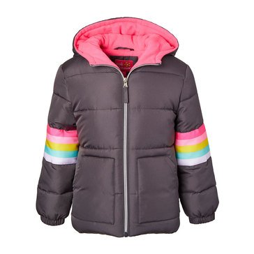 Pink Platinum Little Girls' Sleeve Striped Puffer