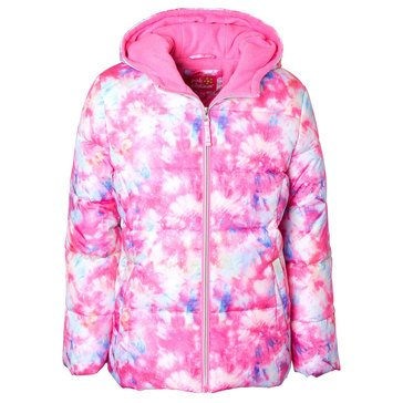 Pink Platinum Little Girls' Tie Dye Puffer