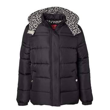 Pink Platinum Big Girls' Leopard Liner Puffer