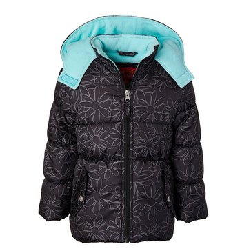 Pink Platinum Big Girls' Floral Puffer