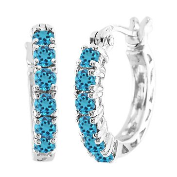 Sterling Silver and Gold Plated Created Blue Topaz Hoop Earrings