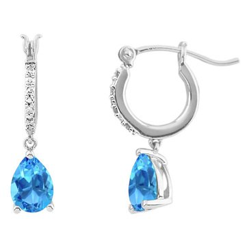 Sterling Silver Created Blue Topaz and Diamond Earrings
