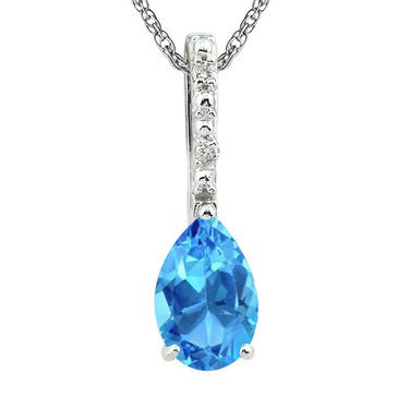 Sterling Silver Created Blue Topaz and Diamond Pendant