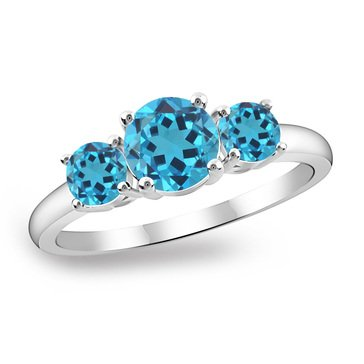 Sterling Silver Created Blue Topaz 3 Stone Ring