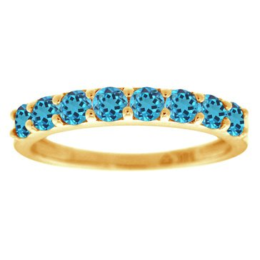 Sterling Silver and Gold Plated Created Blue Topaz Ring