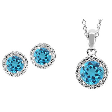 Sterling Silver Created Blue Topaz and White Topaz Earring and Pendant Set
