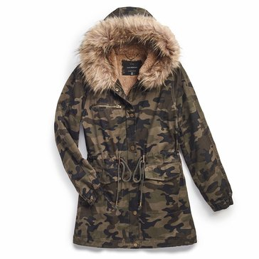 Lucky Brand Women's Parka with Faux Fur Trim Hood