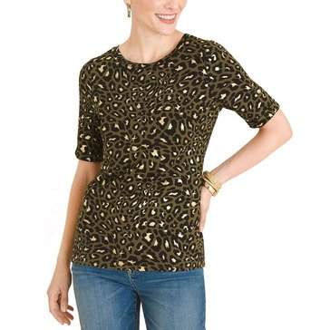Chico's Women's Cheetah Print Foil Tee