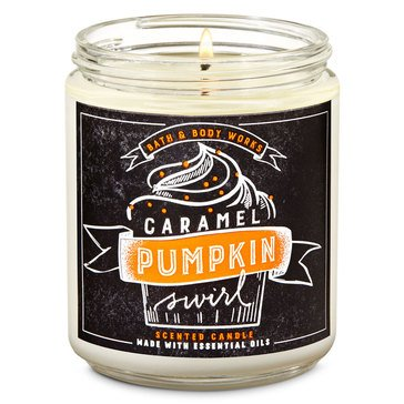 Bath & Body Works Fox Caf Single Wick Candle Caramel Pumpkin Swirl