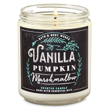 Bath & Body Works Fox Caf Single Wick Candle Vanilla Pumpkin Marshmallow