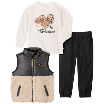 Timberland Baby Boys' Tee, Berber Vest & Twill Joggers 3-Piece Set