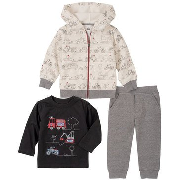 Kids Headquarters Baby Boys' Construction Zipped Hoodie & Fleece Joggers 3-Piece Set