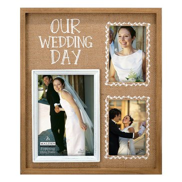 Malden 3-Opening Our Wedding Day Burlap Collage Frame