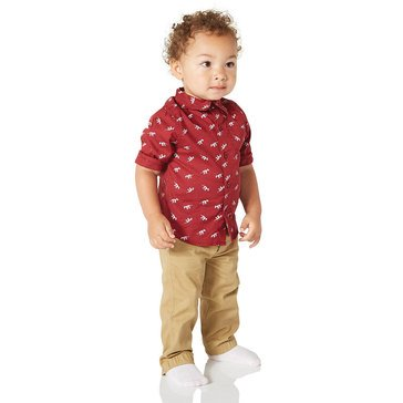 Wanderling Baby Boys' Woven Shirt &Twill Jogger Pants Set