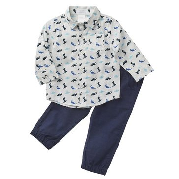 Wanderling Baby Boys' Woven Shirt & Corduroy Jogger Pants Set