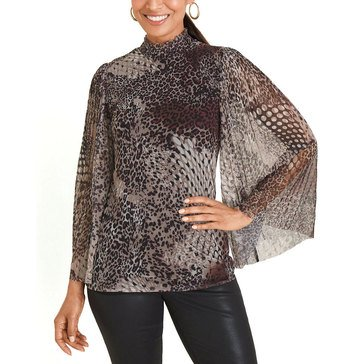Chicos Cheetah Snake Mesh Top