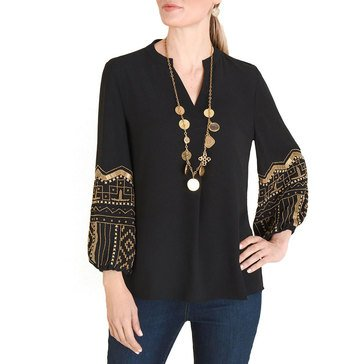 Chicos Women's Beaded Sleeve Top
