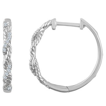 Because by Navy Star 14K White 1/10 Cttw Twist Hoop Earring