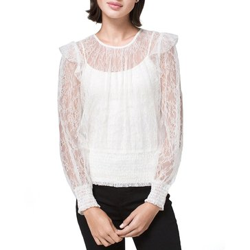 White House Black Market Women's Smocked Hem Lace Top