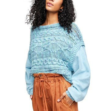 Free People Womens Cable Pullover